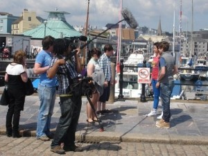Filming at the Mayflower Steps in Plymouth for the Lighthouse 2 DVD.