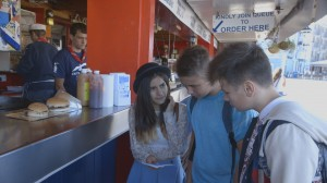 Ruby, Oliver and Jack, the three main characters on the Access 2 DVD at a take-away in Plymouth.